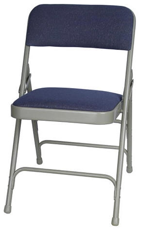 BLUE FABRIC PADDED METAL FOLDING CHAIR ...